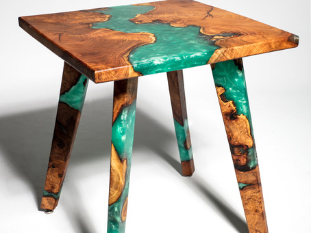 Resin River/Mesquite Burl Hybrid End Table