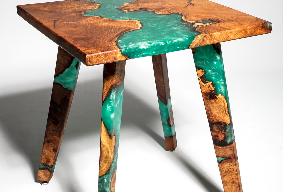 Mesquite Burl Resin Art Table (CUSTOM ORDER ONLY)