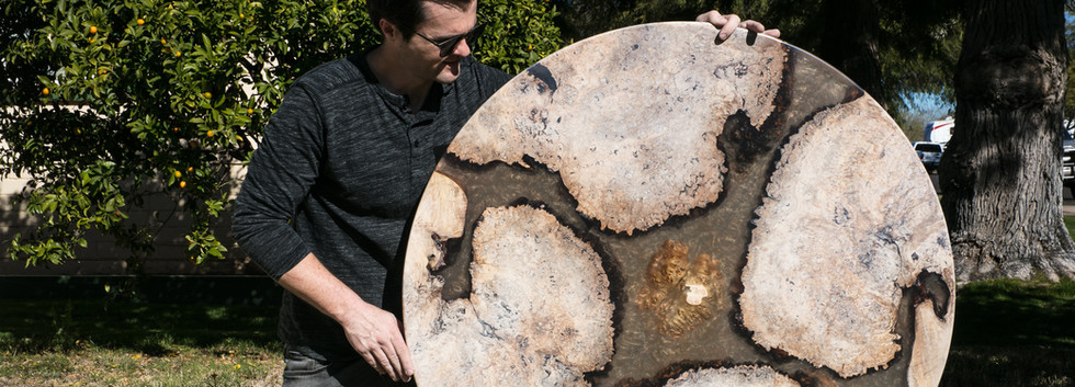 """42"""" Bar top River Table, White Waxed Burl+Clear/Gold Shimmer Resin"""