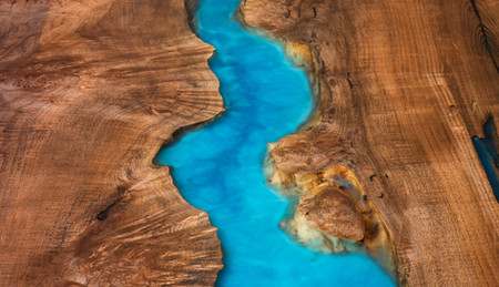 Oceanic flow resin in live edge wood slabs