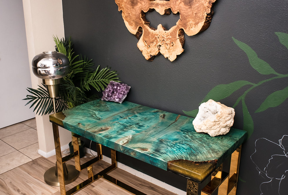 peacock green maple burl and brass modern executive desk