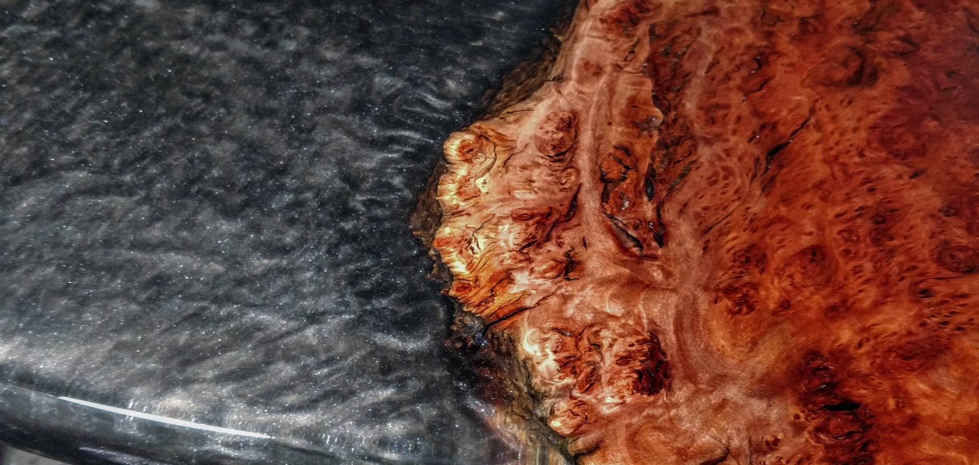 Translucent black resin fill with Red Gum Burl