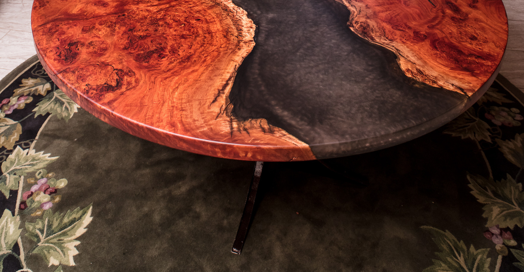 """58"""" Round Red Gum Burl River Dining Table"""