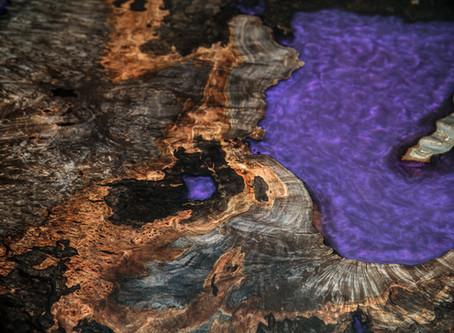 Ebonized Maple Burl Modern Purple Resin Cast Desk