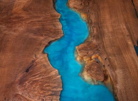Oceanic Flow Resin Live Edge Maple Burl Dining Table