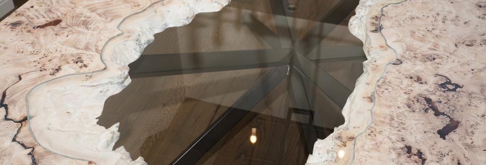Mappa Burl Glass Inlay River Table