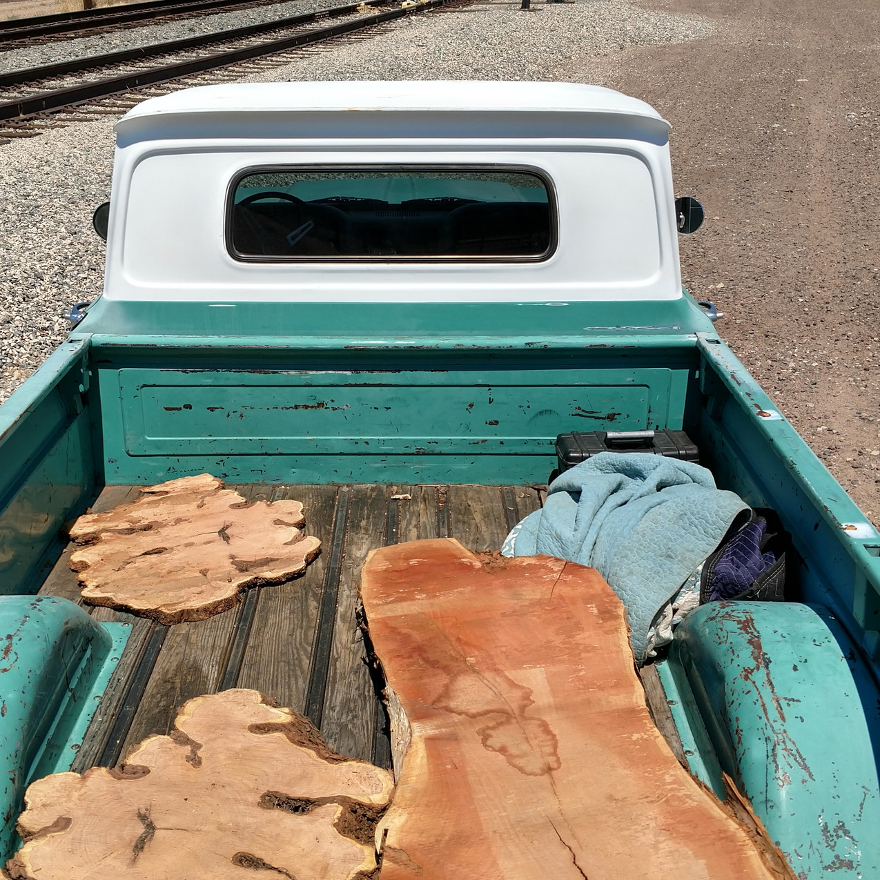Today's haul from the local saw mill, reclaimed urban mesquite wood slabs