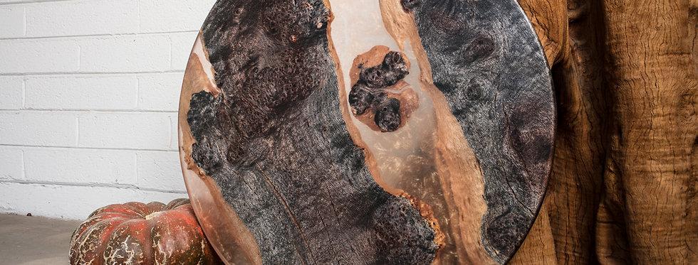 ebonized silk oak clear copper gold shimmer resin food safe serving tray