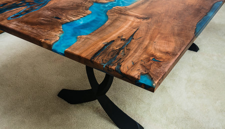 Resin River Maple Burl Dining Table