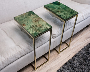 Emerald Green Maple Burl with Gold Frame Couch Tables