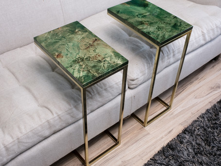 Emerald Green Cantilever Brass Tables