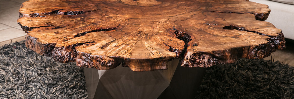 "51x44"" Peruvian Pepper Burl Live Edge Coffee Table w/ Polyhedron Steel Base"