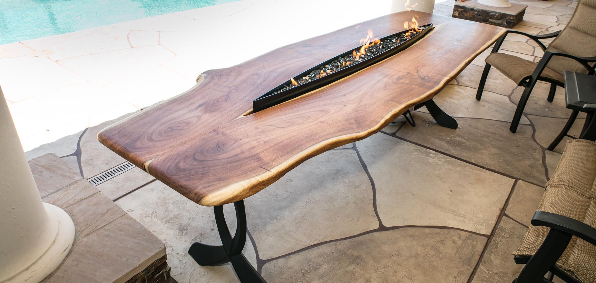 Mesquite Live Edge Firepit Patio Table