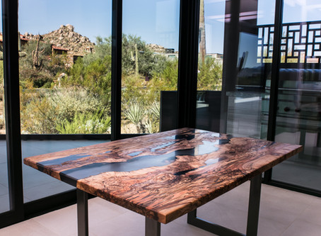 """Spalted Maple Live Edge 40x60"""" Clear Smoke Resin River Table"""