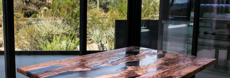 Spalted Maple Burl, Clear Smoke Resin River Dinette