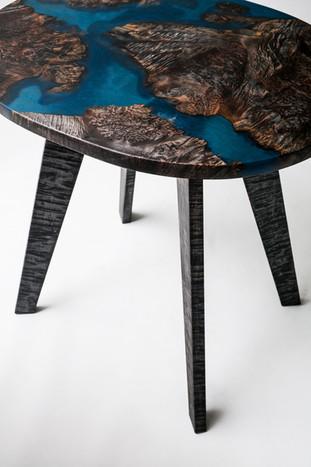 Ebonized Maple Burl Resin Earth Inspired Modern End Table