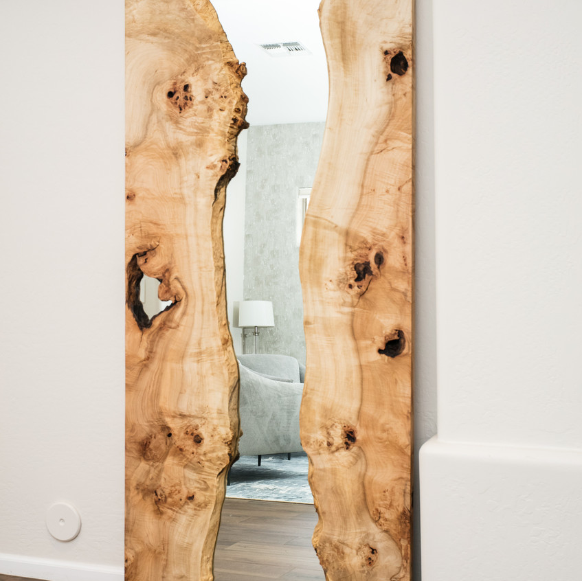 Reclaimed wood maple live edge 36x78 inch standing mirror