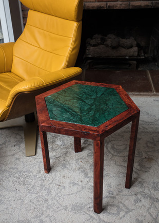 Red Gum Hex End Table with Emerald Green Marble Inlay