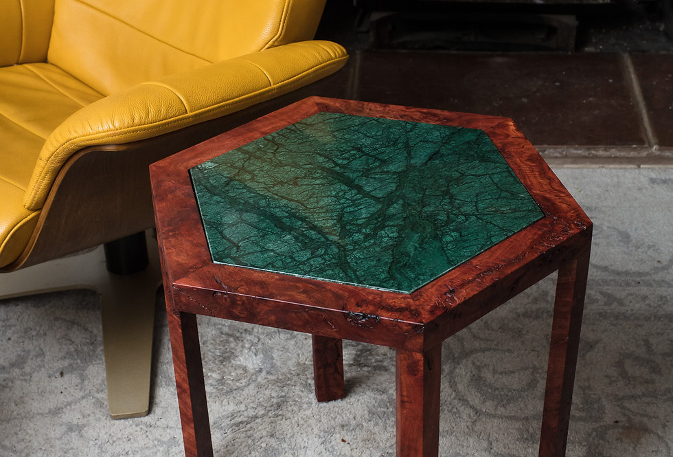 Emerald Green and Red End Stone and Burl wood end table