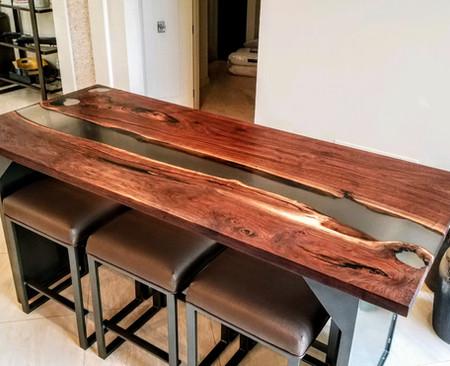 Walnut 35x80 Smokey River Dining Bar Table