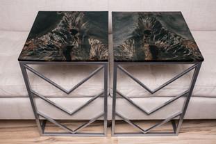 Matching Ebonized Maple Cheron Steel C-Tables