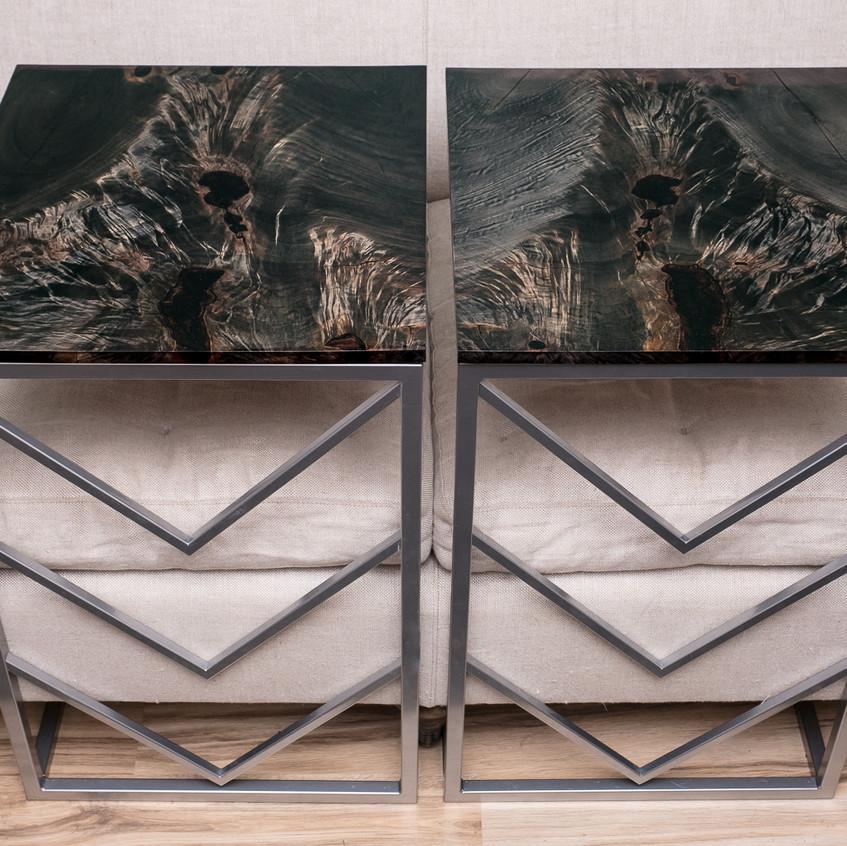 bookmatched ebonized maple on custom steel chevron C tables