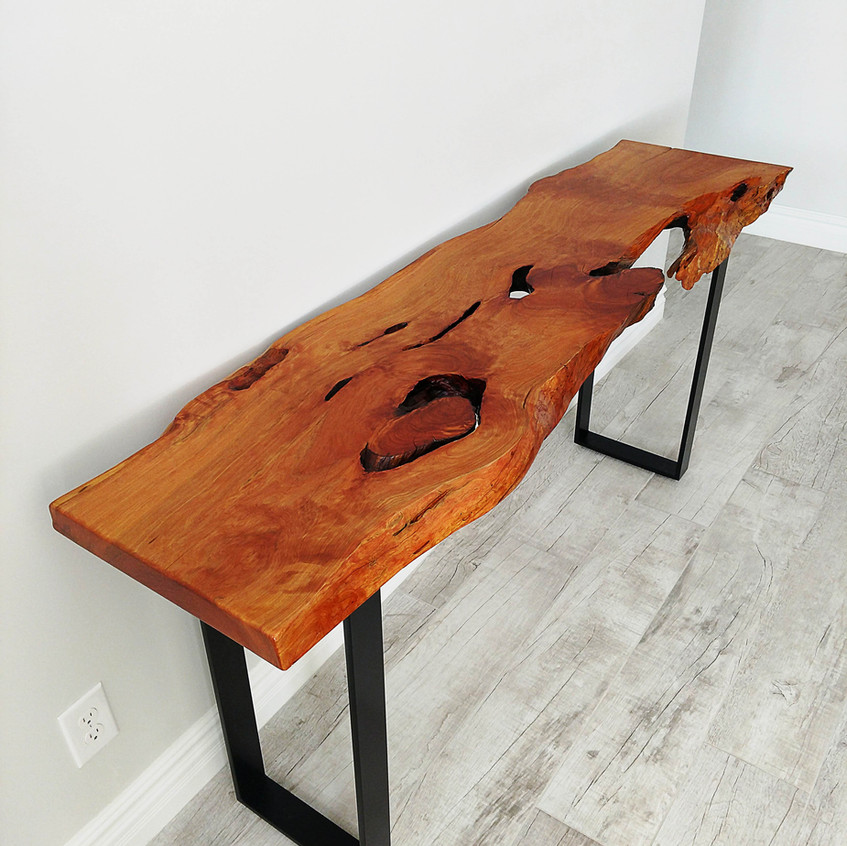 Live edge rustic modern alligator juniper entry way console table with black steel legs