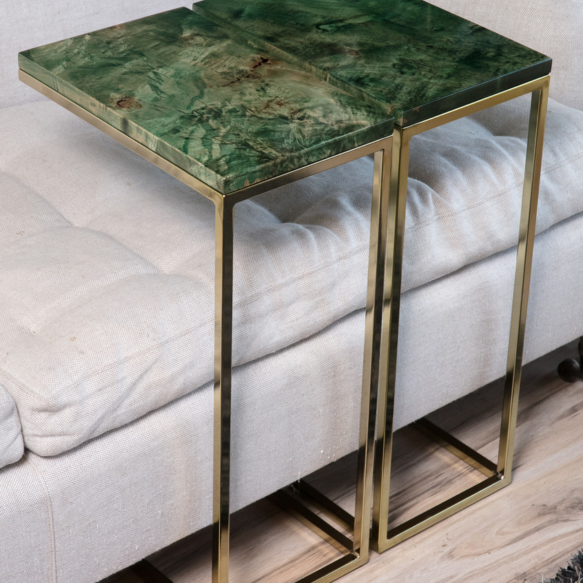 Emerald Green Brass rosegold couch Tables