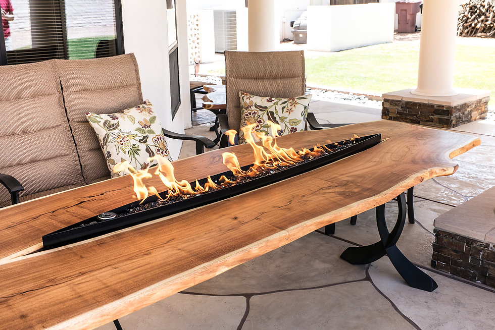Live Edge Mesquite Fire Pit Dining Table