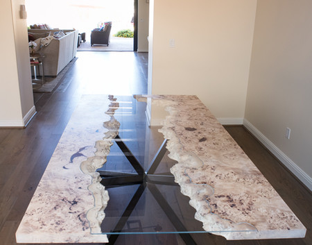 White Wood Mappa Burl River Table Curved Glass Inlay