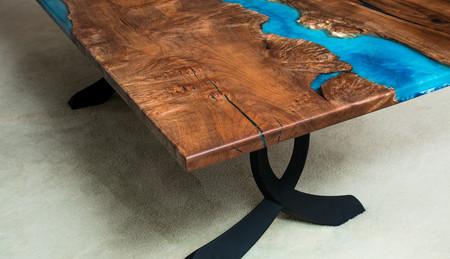 wood slab river table Crossing Arches black steel legs