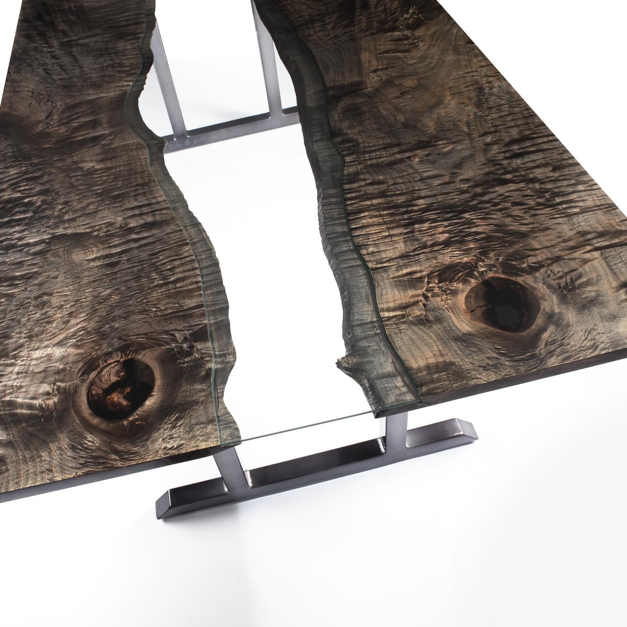Organic modern style ebonized maple river table