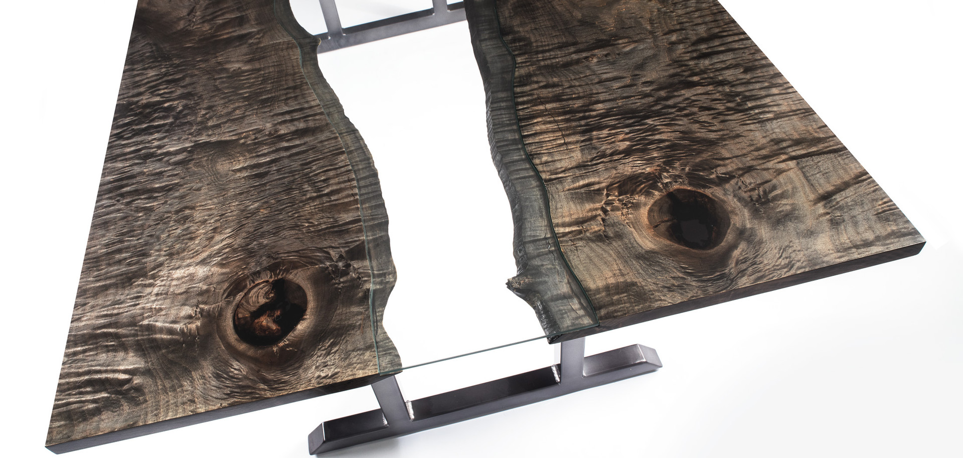 Curly Maple Ebonized Bookmatched Slab Table with Glass