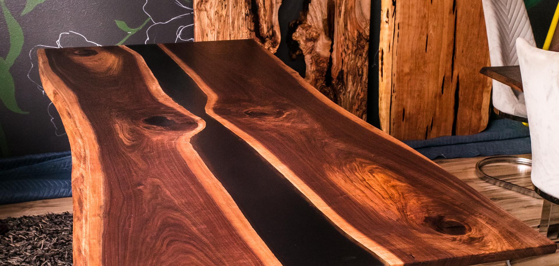 Black Walnut Resin River Dining Table
