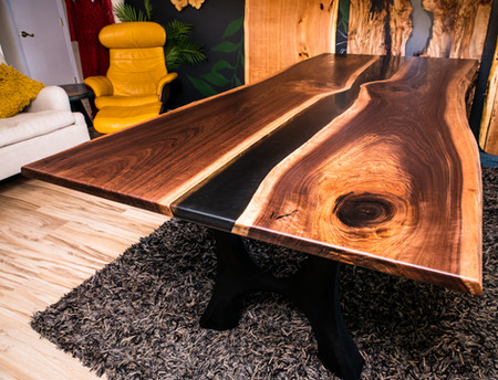 Walnut Black Resin Modern Rustic Dining Table