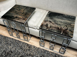 Ebonized Maple  Stacked Block Matching Couch Tables