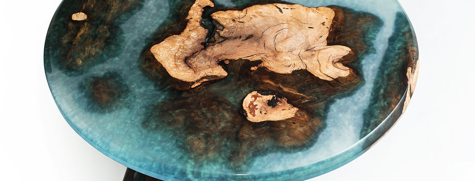 "Black Cherry Burl Islands 30"" Blue/Green Translucent Epoxy Resin Coffee Table"
