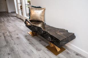 Ebonized Maple Live Edge Bench on Gold Chevron I-Beam Legs