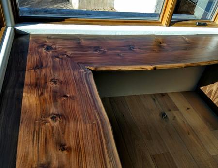 7x7ft Bookmatched Walnut Live Edge Floating Corner Desk
