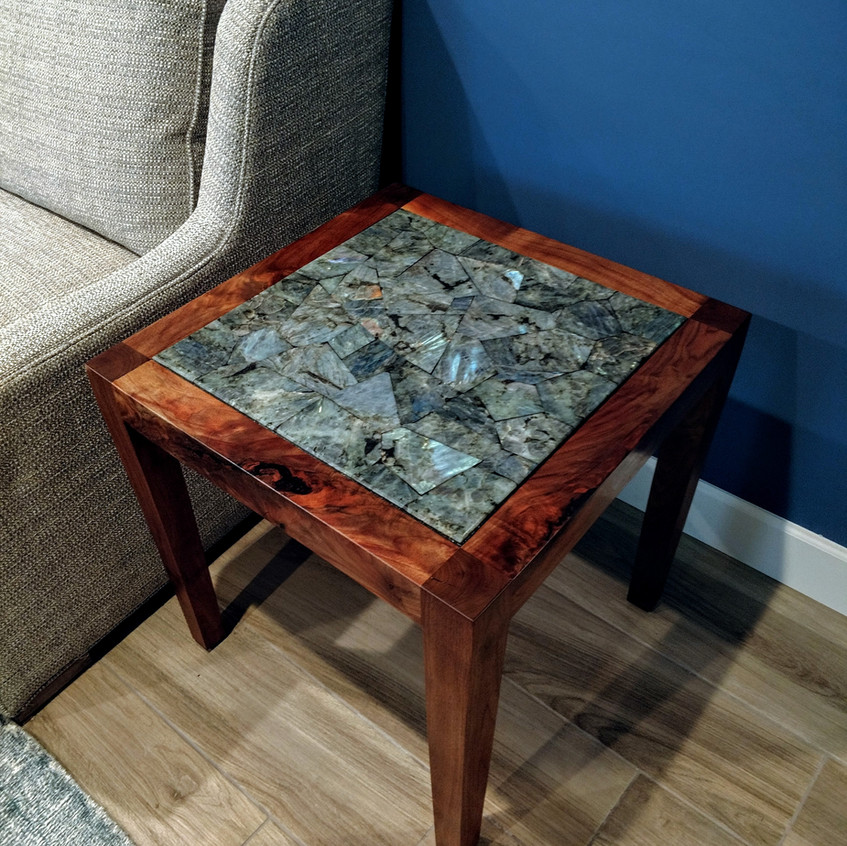 """Claro Walnut tapered square end grain leg end table with 20"""" faceted labradorite inlay."""