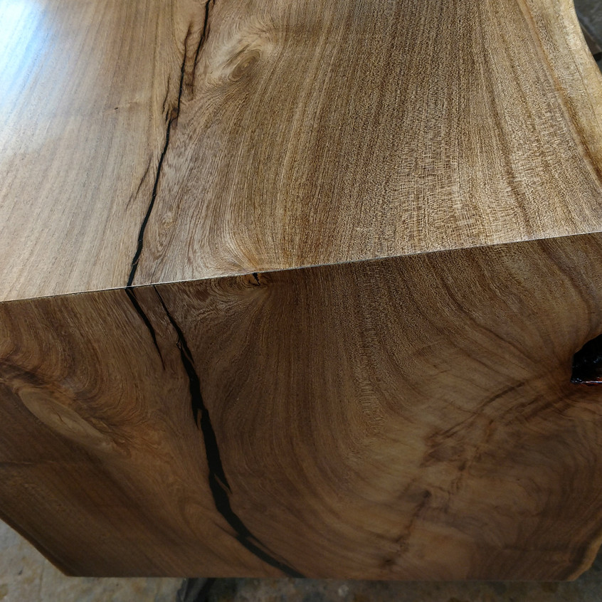 """Face cut miter with TS75 track saw through 2"""" thick Mesquite hardwood"""
