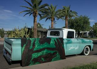 """Walnut Live Edge Emerald Green Wall Art 40x80"""""""