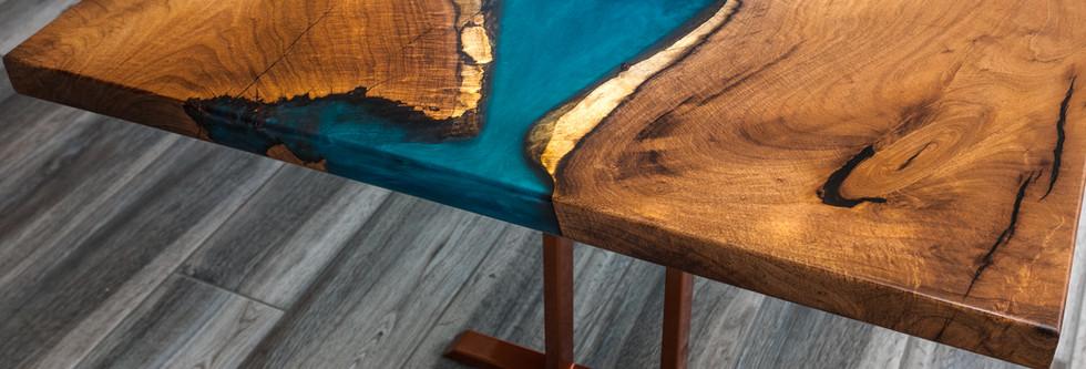 Mesquite Live Edge Slab table with blue resin river and copper metal legs