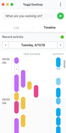 Timeline in Toggl Deskop App