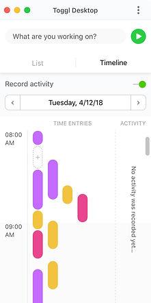 Toggl - macOS - App Window - Timeline -