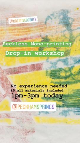 Reckless Monoprint Flyer