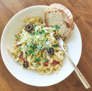 Homemade Fettuccine with Saddleback Smoked Bacon, Morel Mushrooms and Pea Sprouts
