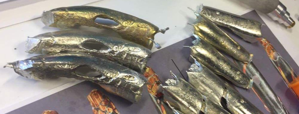 Freshly moulded metal parts.