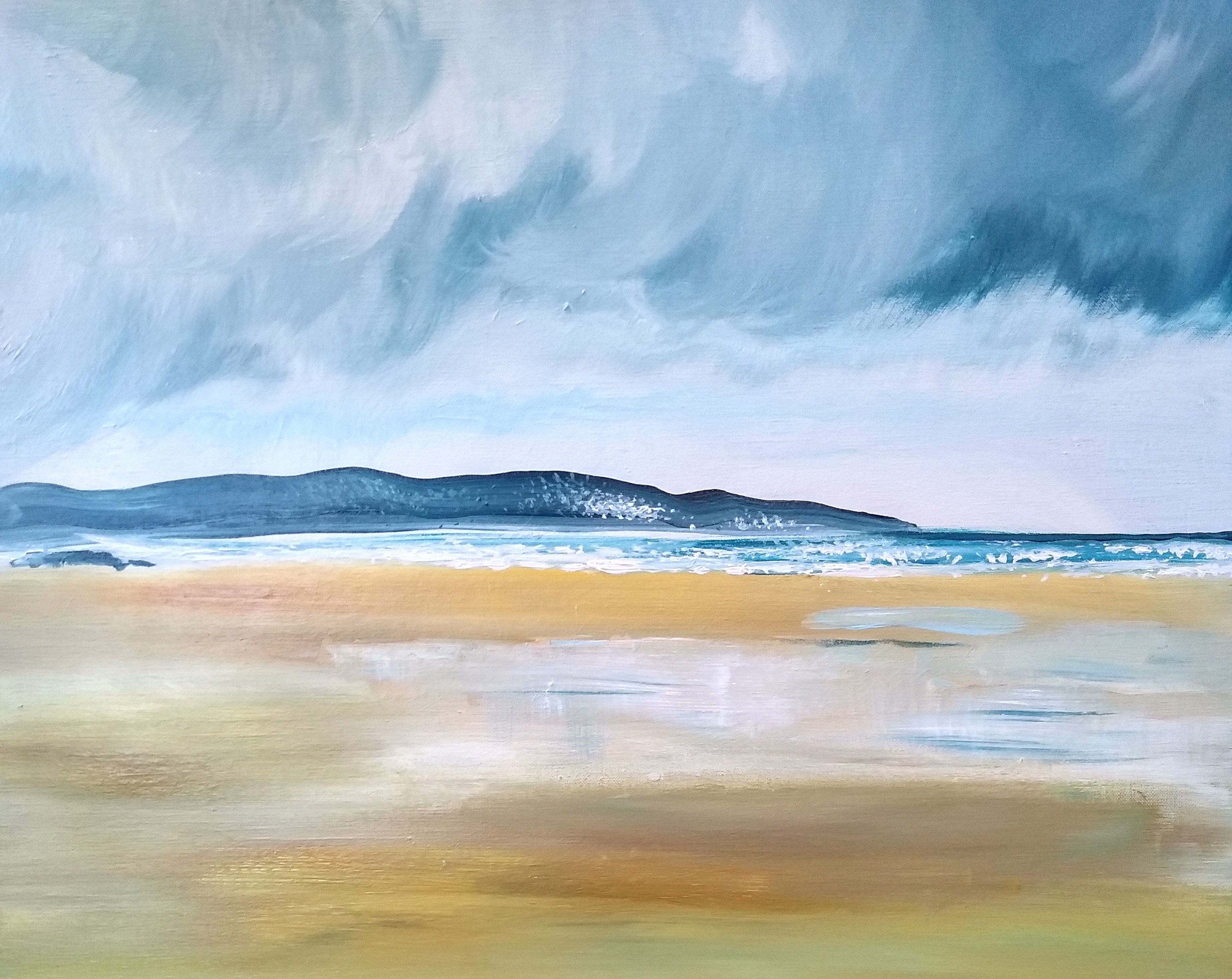 Storm clearing Gwithian 50 x 60 cm