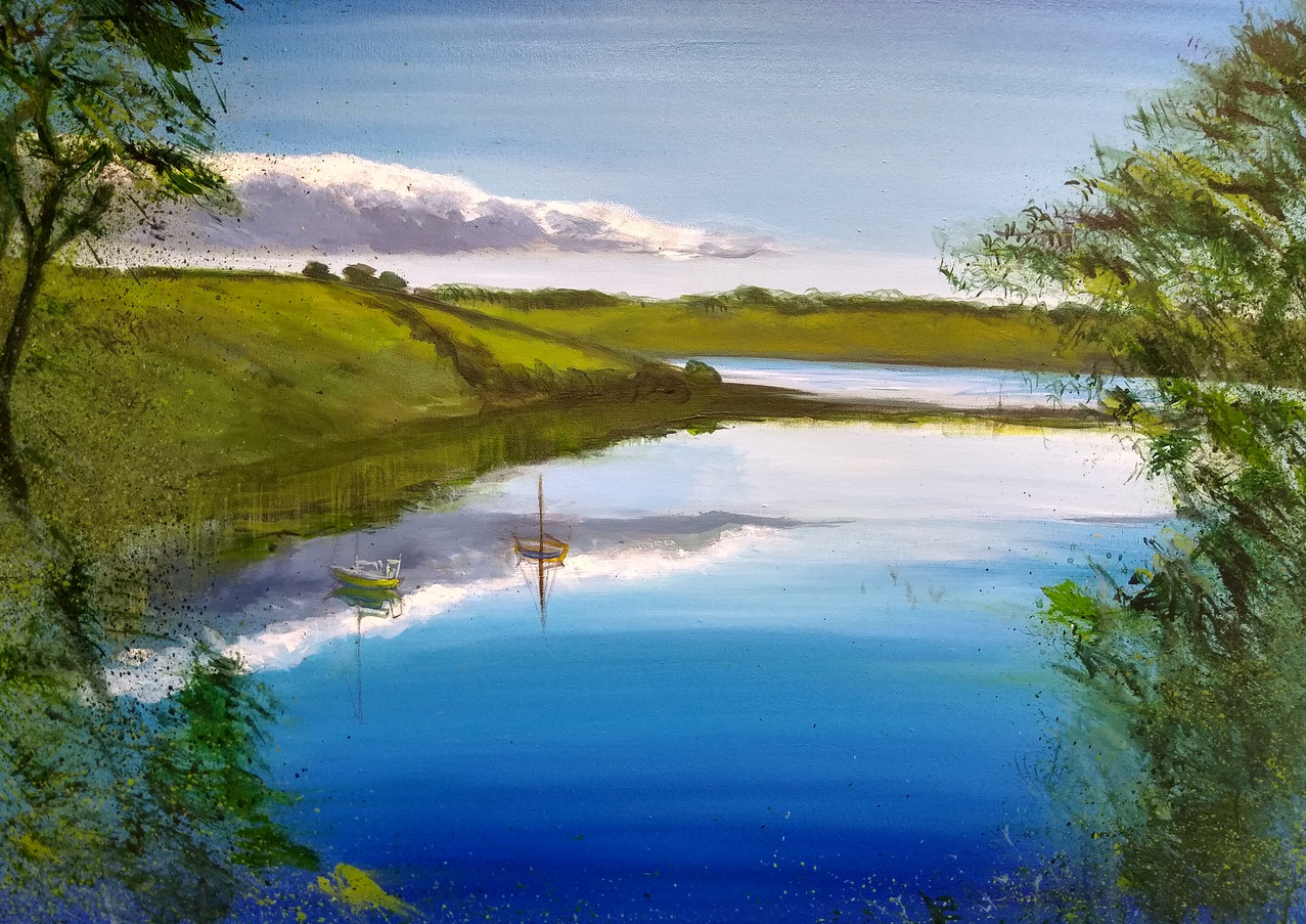 "Karen Smith ""From Trelissick"" Acrylic on canvas 60 x 90 cm £650"